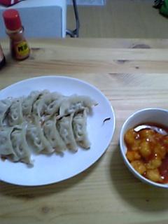 餃子とエビチリ
